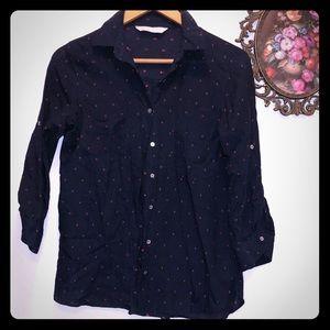 Zara Button Down Navy Speckled Shirt